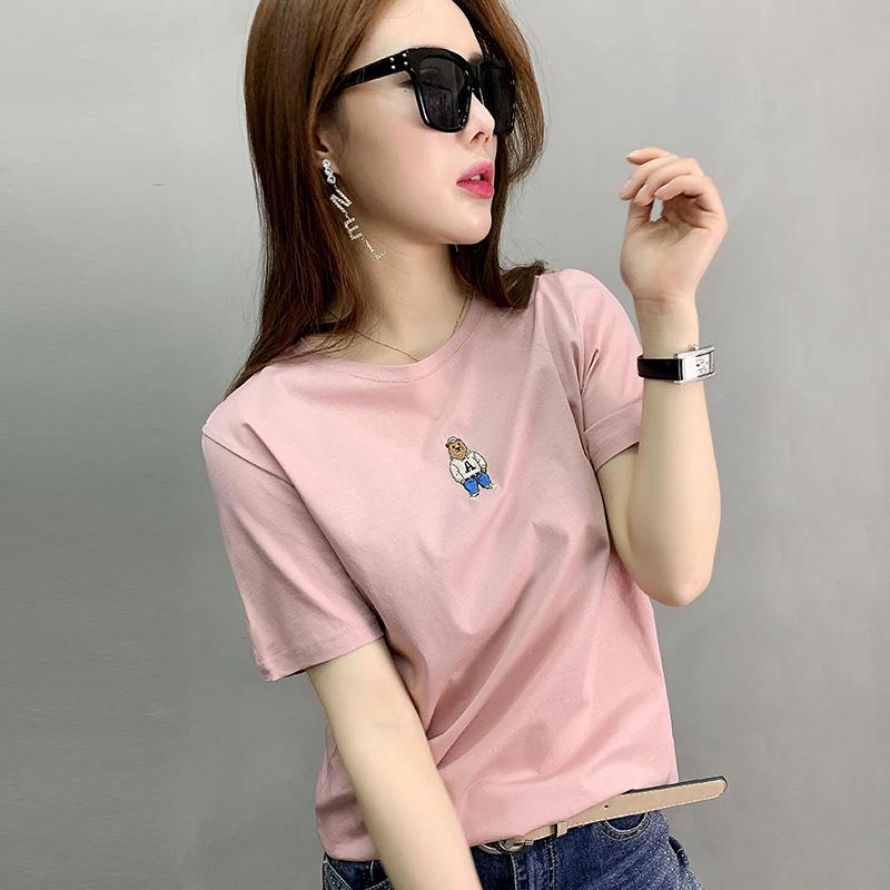 欧洲站2020年新款粉色欧货潮女装t恤女刺绣纯棉港风夏季短袖体恤