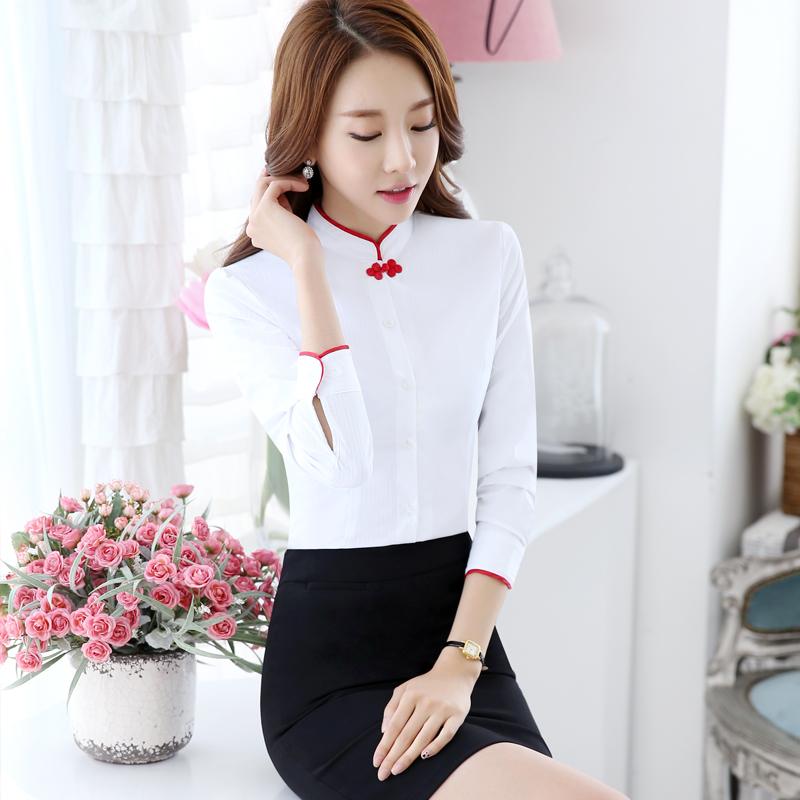 衬衫女短袖白色中国风大码女装职业装衬衣工作服酒店茶楼员工工装