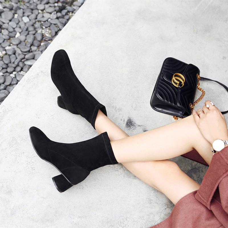 正高跟洛百丽网红短靴女2019冬季新款女鞋瘦瘦靴袜靴粗跟品牌加绒