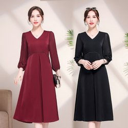 Xiaoli Wardrobe Factory Store [Xiaoli Custom] HL fashion v-neck waist slimming dress 2021 new hot