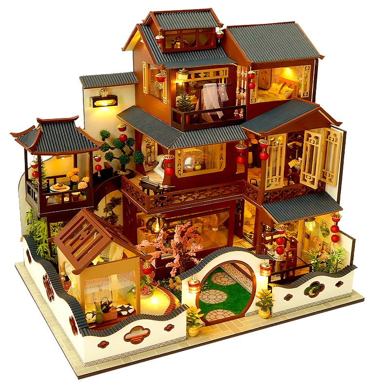 天予中国风diy小屋大型别墅手工制作建筑模型玩具520礼物送女友