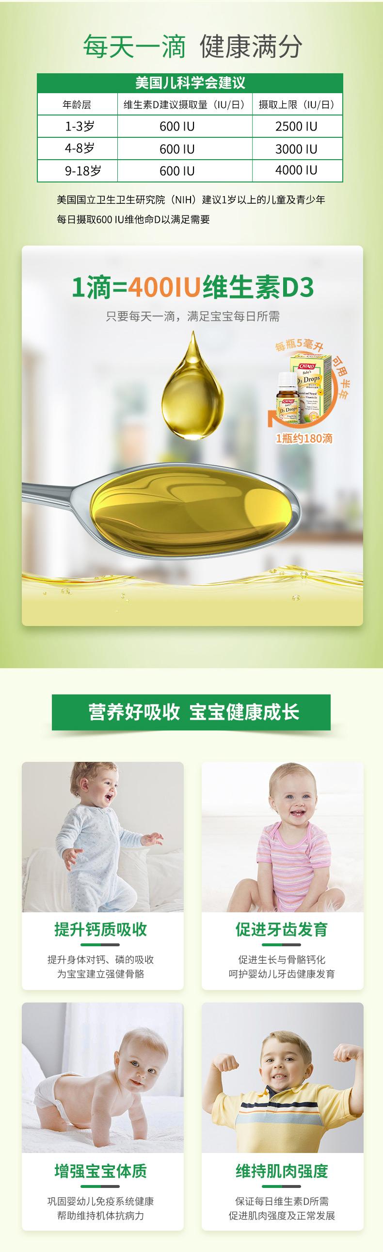 CATALO家得路美国进口婴幼儿维生素d儿童宝宝d3滴剂*2 产品系列 第2张