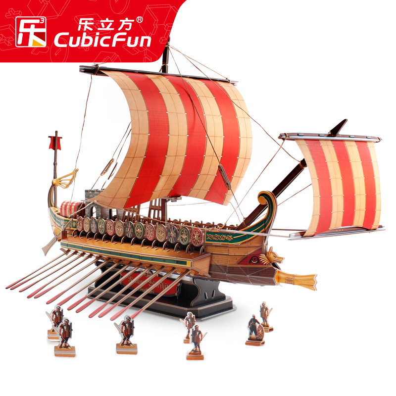 Music Cube 3D stereo puzzle ancient Rome war ship ship model puzzle toys  pirate ship ancient ship Assembly DIY model