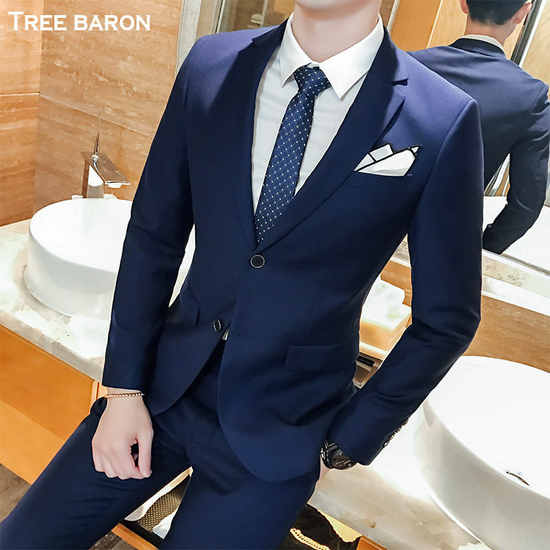 Double buckle dark blue two-piece suit (top + pants)