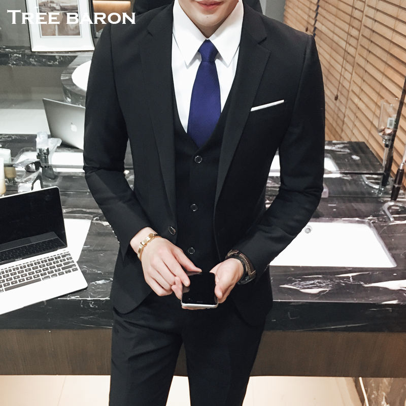 Single button black three-piece suit (top + vest + pants)