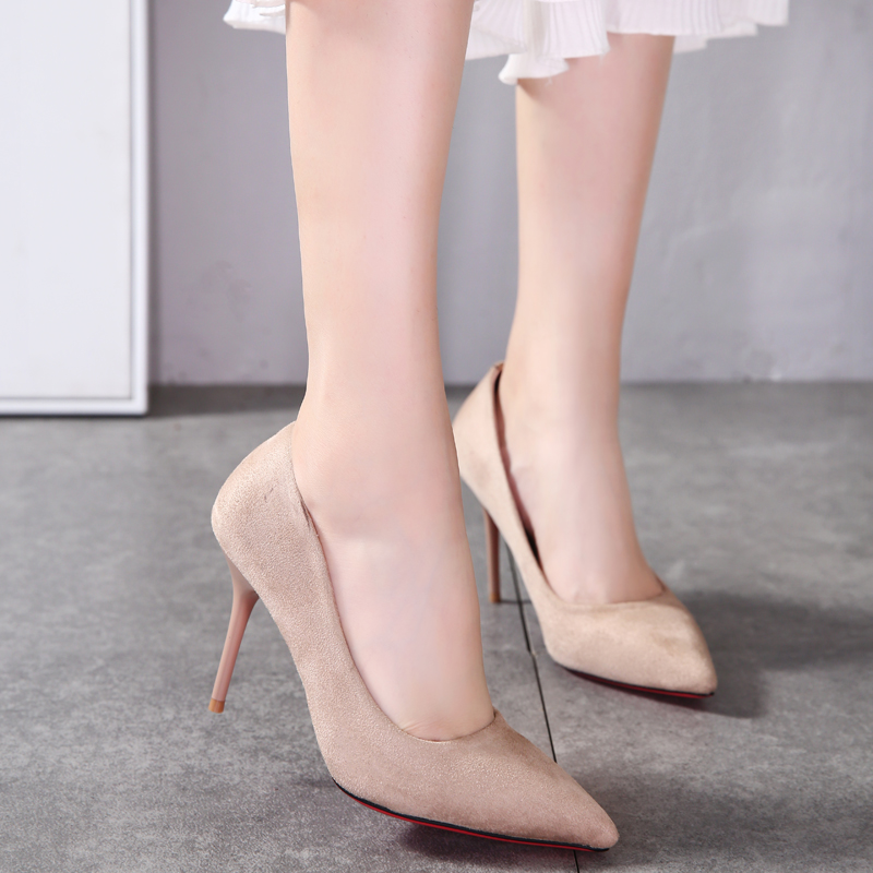 352f82662 New European and American autumn and winter nude color high heels fine with  sexy pointed shoes work shoes commuter suede shoes wedding shoes