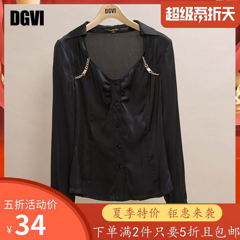 DGVI Châu Âu mùa xuân áo sơ mi nữ màu đen nữ rắn màu Slim mỏng cổ điển hoang dã chạm đáy - Áo sơ mi