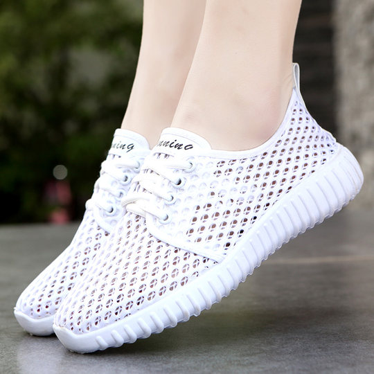 Old Beijing cloth shoes women's summer net shoes flat bottom empty sports casual shoes breathable mesh surface comfortable mother shoes