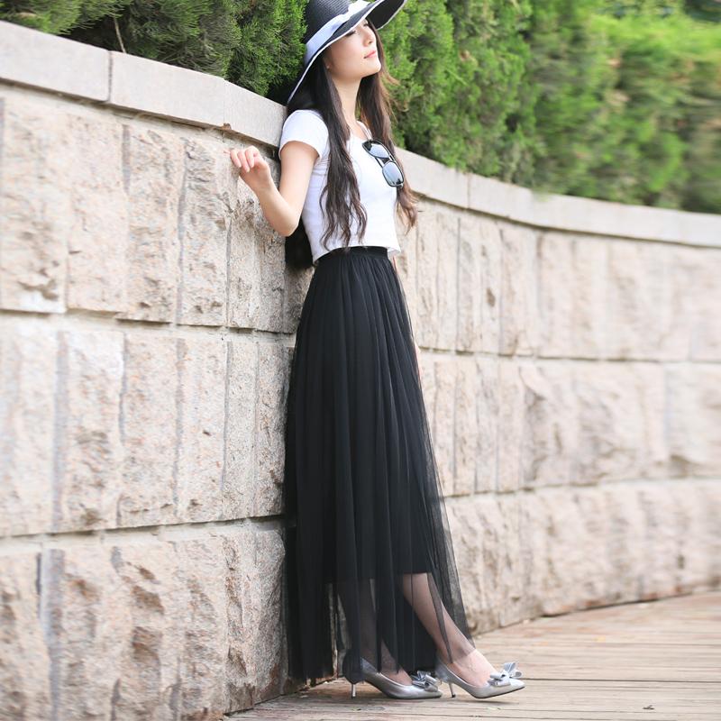 春夏高腰大摆蓬蓬网纱裙