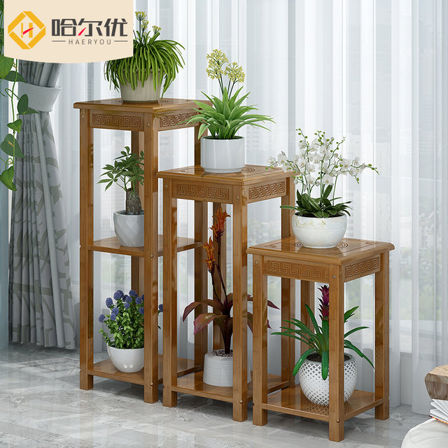 Flower Racks Indoor Floor Living Room Green Dill Potted Bonsai Pots Multilayer Wood Antique Chinese Bamboo Stools