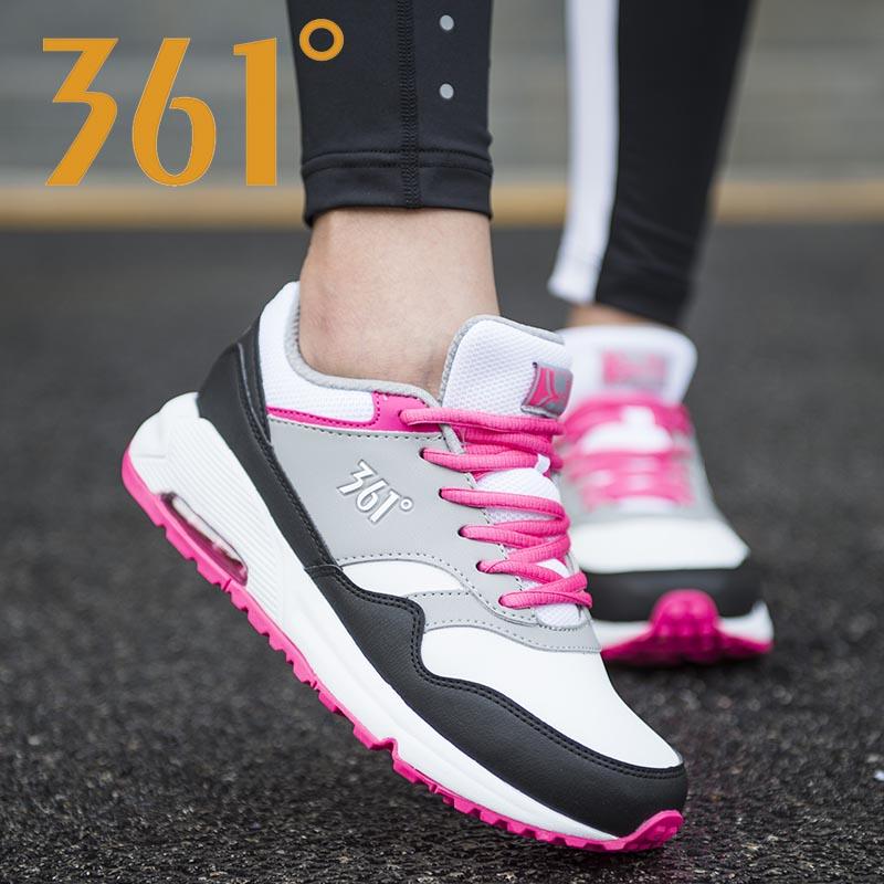 Giày nữ 361 2019 Giày thể thao ấm áp mùa đông 361 độ nữ đệm khí bề mặt da nhẹ chống trượt giày chạy bình thường - Giày chạy bộ