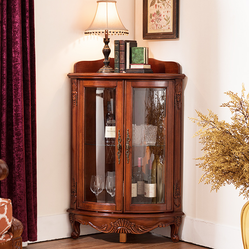 American Corner Cabinet Solid Wood Living Room Triangle Wine Storage European
