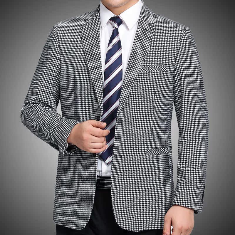 男士秋冬新款休闲西服羊毛呢西装外套中老年大码羊绒单西宽松上衣