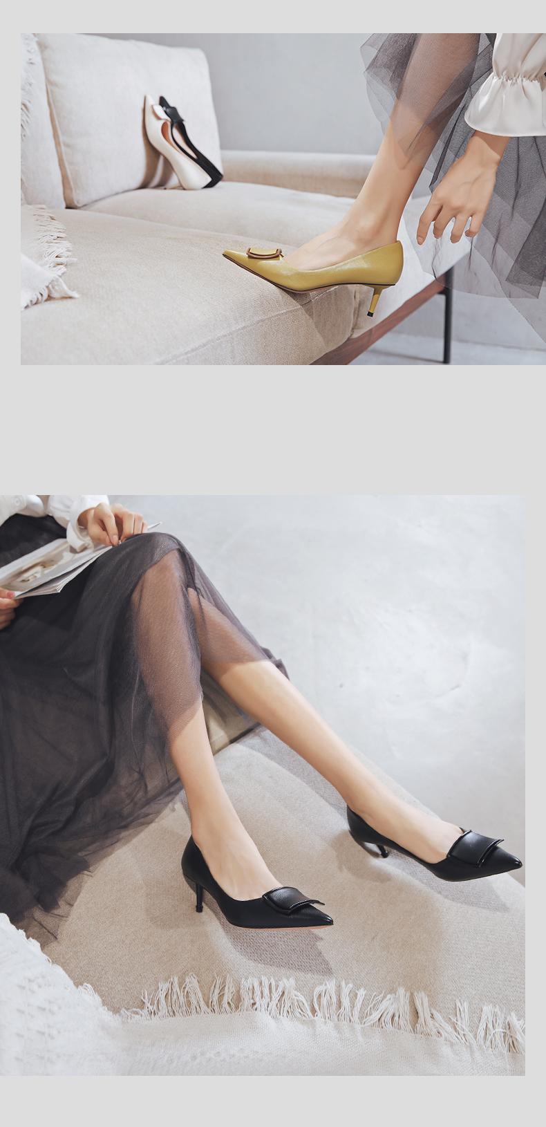 一代佳人高跟鞋夏季新款百搭尖头细跟单鞋女秋款中跟方扣女鞋详细照片