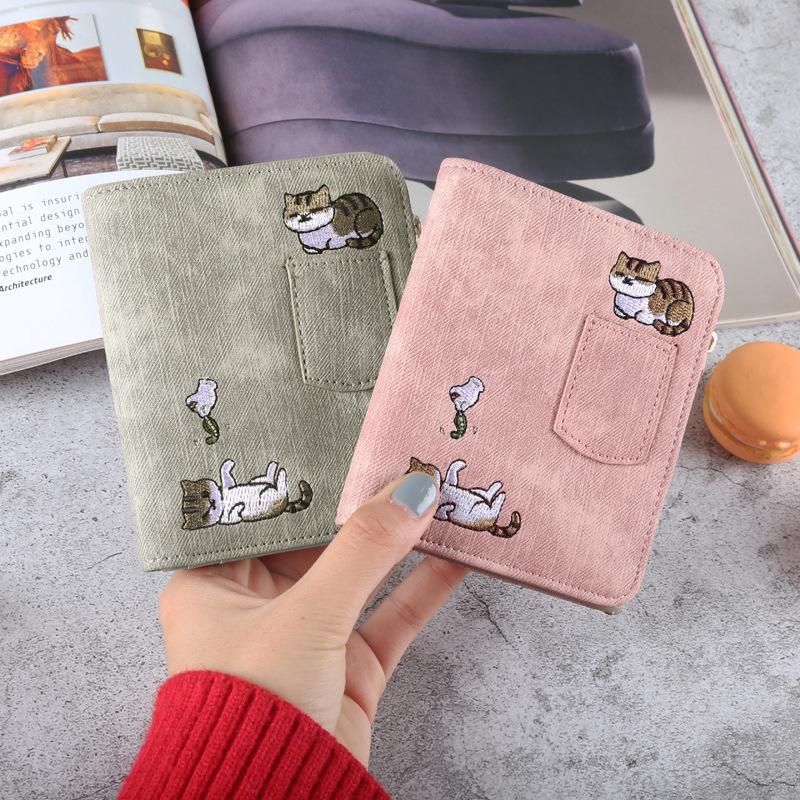 2019新款韩版少女学生士零钱包小a少女折叠可爱多功能短款皮夹钱夹
