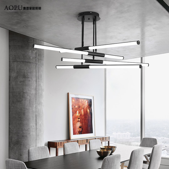 Nordic postmodern creative minimalist designer long strip restaurant simple personality branch living room ins shaped chandelier