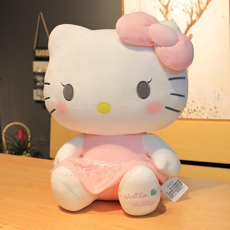 玩偶hellokitty抱枕凯蒂猫女生毛绒玩具娃娃KT猫女孩睡觉正版公仔