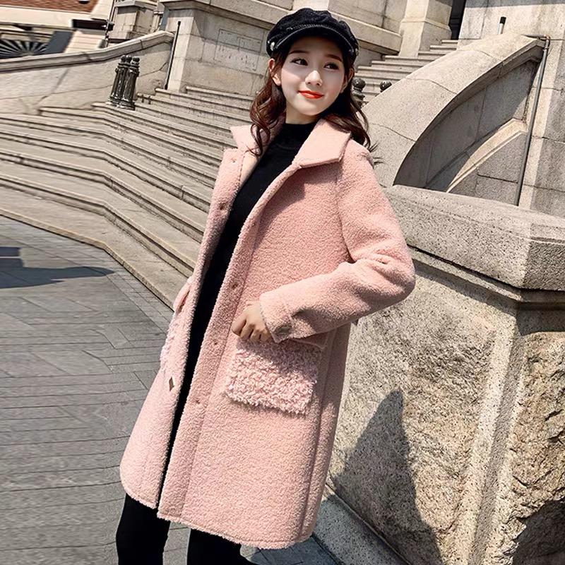 30中长款仿羊羔毛呢外套女2019秋冬新款韩版显瘦时尚小香风大衣潮