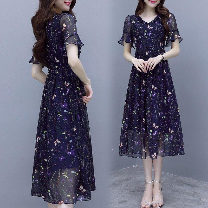 107雪纺女装连衣裙流行碎花2019夏季气质韩版显瘦很仙的夏款