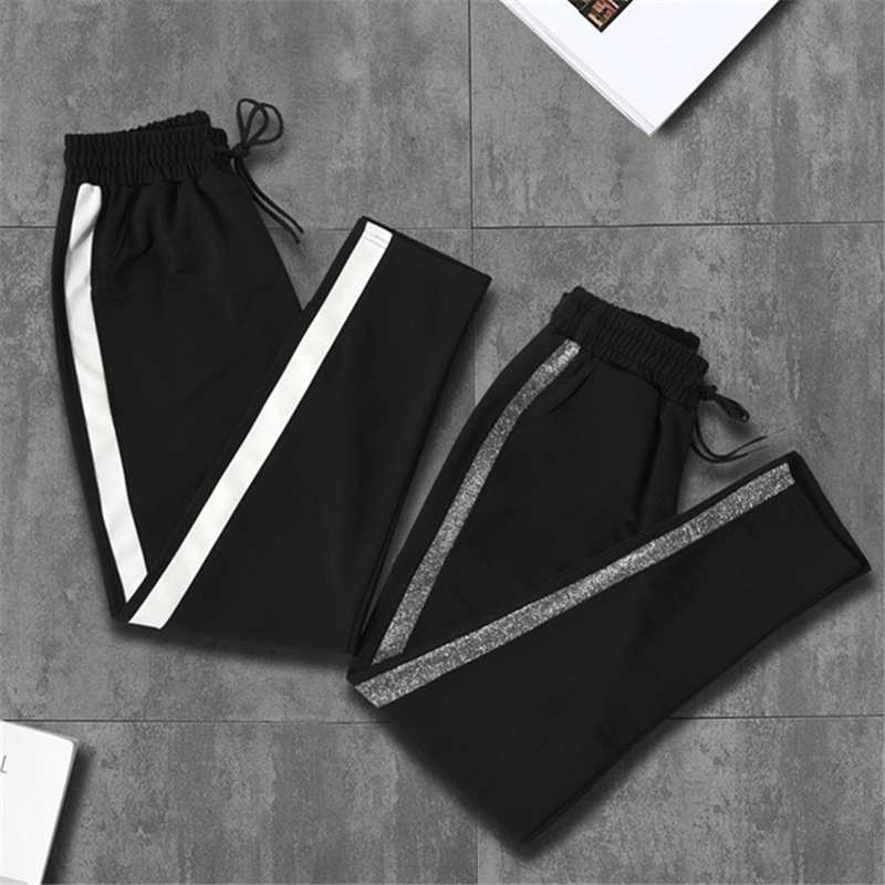 Sports pants women's pants Korean version of the loose wild ulzzang students Harajuku bf casual slimming plus velvet thickening autumn and winter