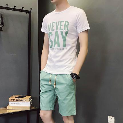 夏季短袖T恤五分裤一套两件男生运动休闲套装青少年学生小可爱服