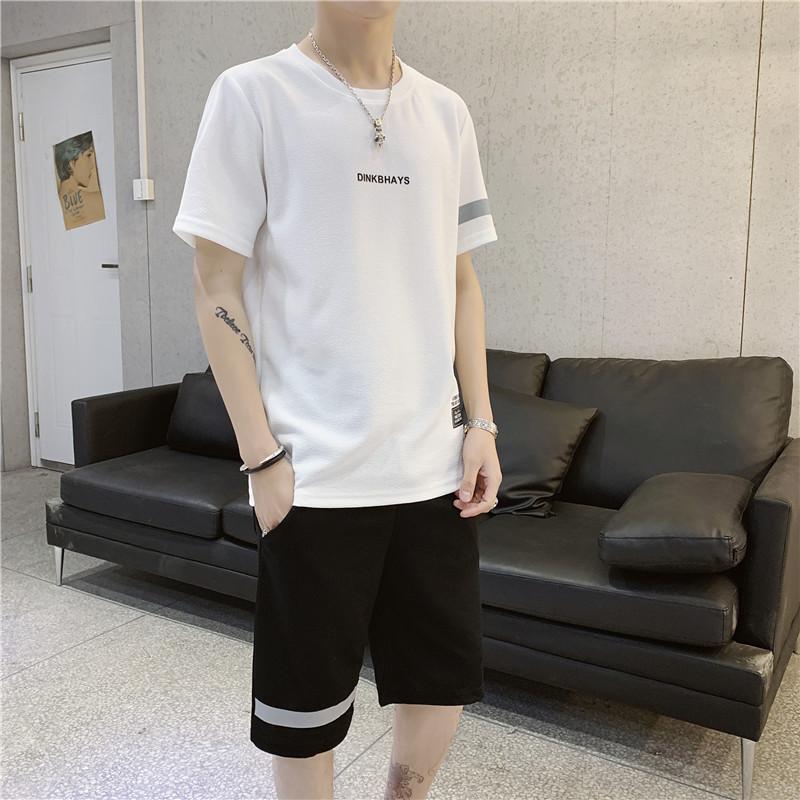 2件装)圆领T恤休闲五分裤两件组合装短裤套装男士运动服装夏季薄
