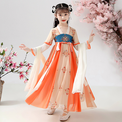 Girls ancient Chinese clothing season Chinese style childrens clothing baby Ru skirt long sleeve childrens Tang clothing super fairy ancient style
