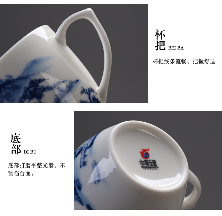 Blue and white porcelain cup with handle kung fu tea cups ceramic tea cup 150 ml glass coffee cup cup