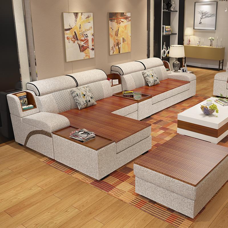 Sofa vải dùng một lần kết hợp phòng khách đặt mùa đông và mùa hè sử dụng sofa vải đôi hiện đại kích thước tối giản nội thất căn hộ - Ghế sô pha
