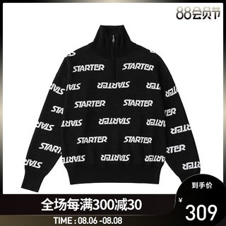 STARTER new products for fall and winter women's contrasting text high neck half-open zipper sweater