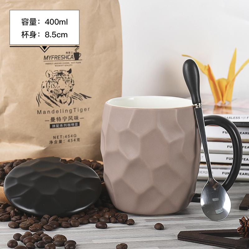 马克杯礼盒情侣款杯子一对带盖勺送男女朋友陶瓷水杯子家用咖啡杯