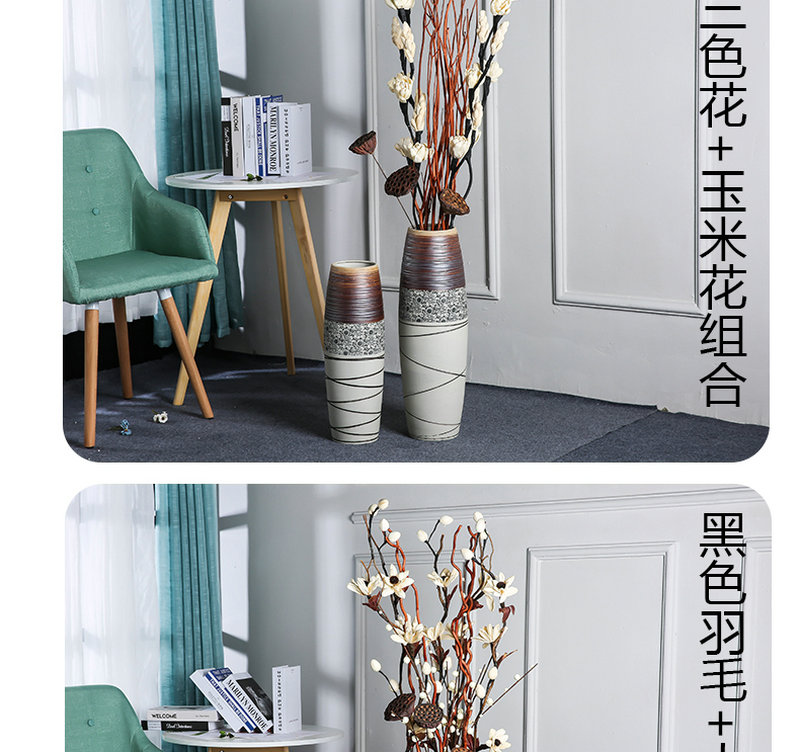 Jingdezhen ceramic dry flower lucky bamboo vases, flower arrangement sitting room home decoration I and contracted Nordic landing place