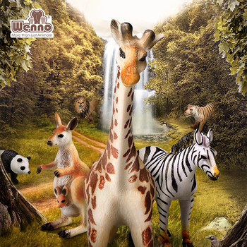 wenno Wildlife World simulation model elephant tiger giraffe hippo alligator boy toy puzzle