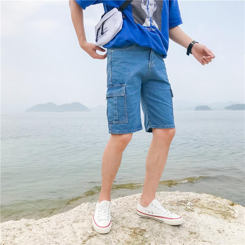 1夏季男士牛仔工装短裤宽松潮牌五分裤大口袋潮流 D321A DK02 P55