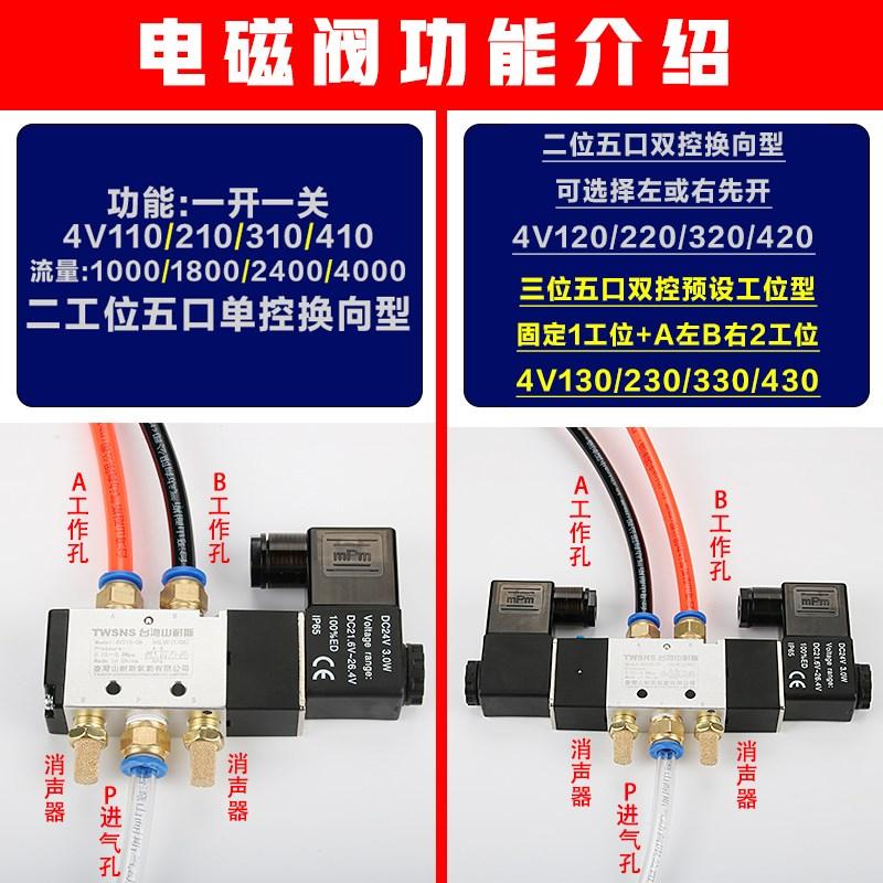 山耐斯电磁阀4v210-08电子电磁阀二位五通气动气动控制阀24ac220220v