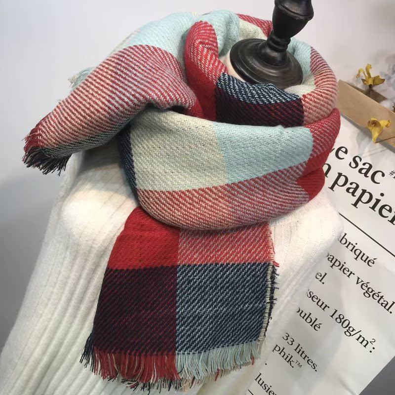 格子围巾英伦经典女秋冬超大百搭森系时尚米色流苏仿羊毛欧美包邮