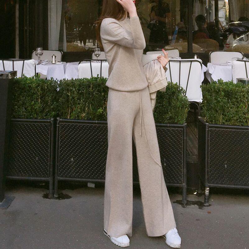 小风香套装女两件套上衣新品女装针织衫件套阔腿裤长裤两长袖潮e