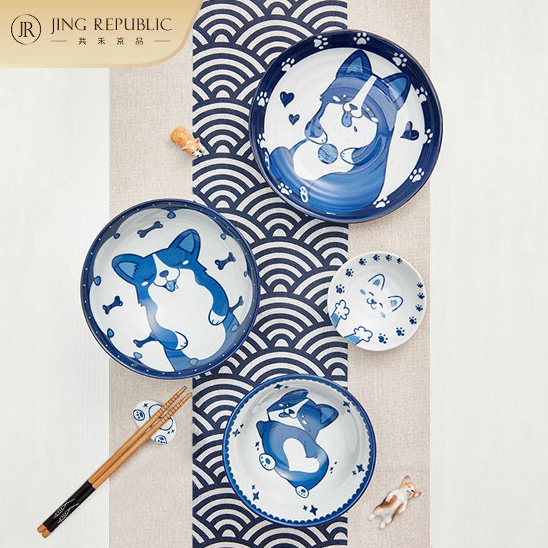 釉下彩:6件套 共禾京品 日式手绘可爱狗狗碗碟