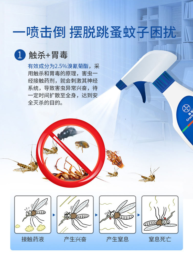 拜耳 除敌 触杀型全害虫杀虫剂 5ml*4管 单管可兑330ml 图4
