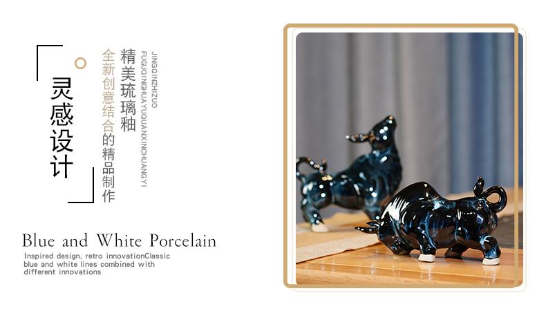 Jun porcelain of jingdezhen ceramics up its zodiac cattle mesa furnishing articles study office sitting room adornment