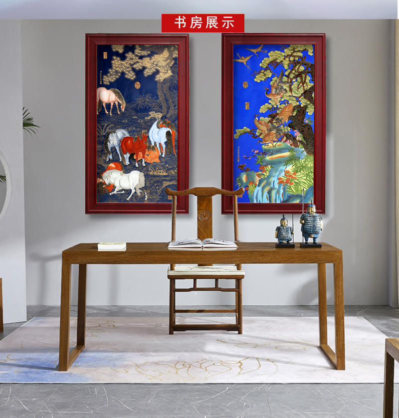Jingdezhen porcelain plate painting adornment see eight figure sitting room office study hang a picture to open gifts
