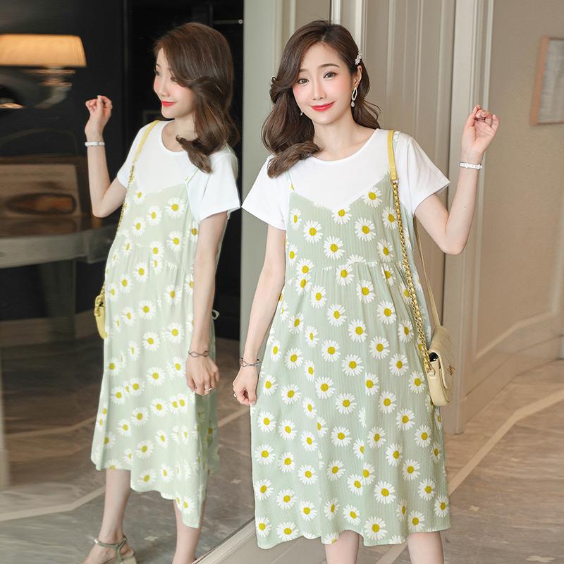 孕婦夏裝連衣裙2020時尚款假兩件夏天純棉上衣中長款韓版孕婦裙子