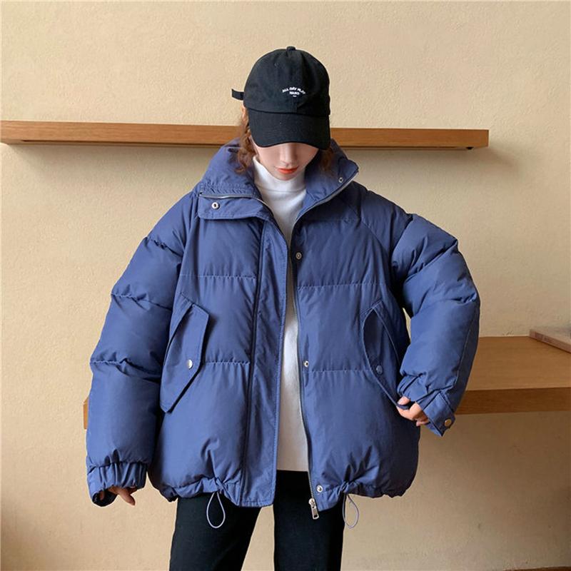 Áo khoác bông nữ mùa đông phong cách Hàn Quốc áo khoác độn bánh mì đứng cổ áo chần áo khoác bông nhỏ quá khổ áo khoác cotton dây kéo áo khoác - Bông