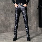 Winter men's leather pants plus velvet to keep warm Slim PU leather pants motorcycle personality hair stylist windproof skinny pants tide