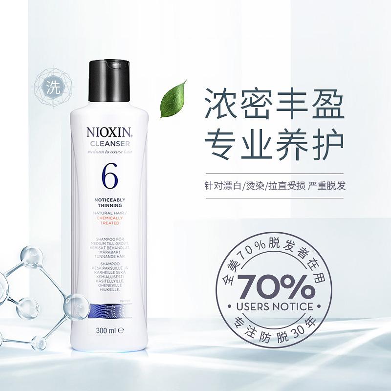 美国进口NIOXIN丽康丝6号防脱洗发水染烫修复发液无硅油正品300ml