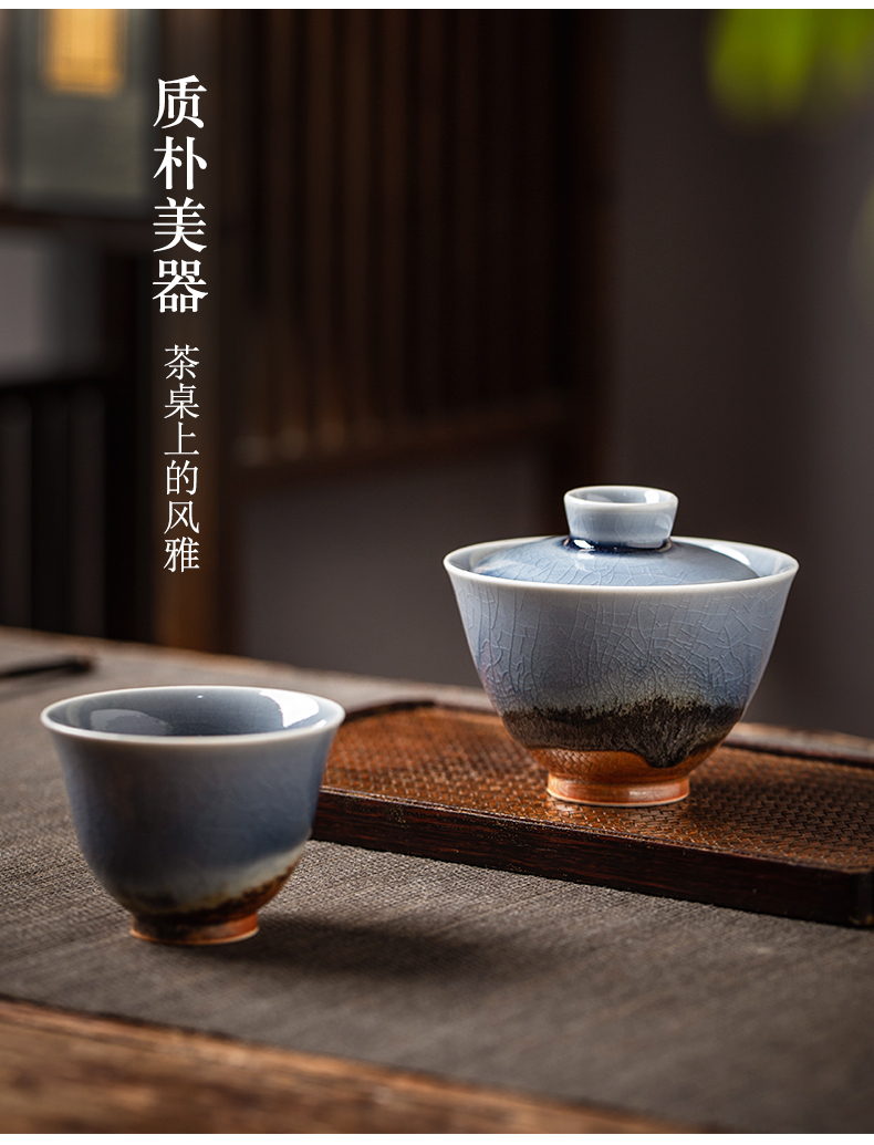 Variable tureen tea cups a single large pure manual jingdezhen ceramic kung fu tea set orphan works two tea bowl