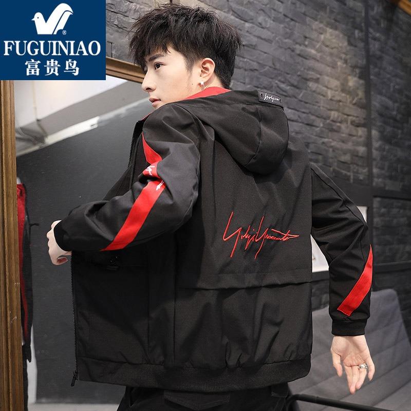富贵鸟男士外套2019新款韩版潮流春季工装衣服男夹克男装潮牌