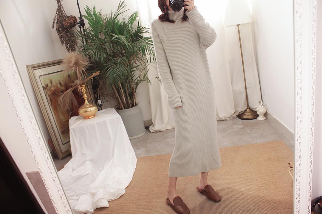包邮!显瘦!主推!厚实保暖插肩领宽松粗线中长毛衣裙新款 a 3600