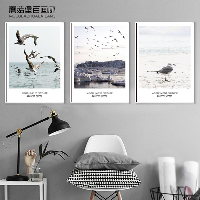 北欧客厅墙面装饰画简约风景壁画背景海鸥挂画v客厅沙发