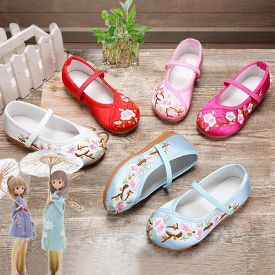 Childrens embroidered shoes, girls Chinese Hanfu shoes, ancient clothes, baby, ancient Chinese style, girls old Beijing cloth shoes